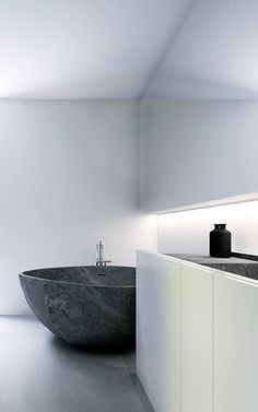 Minimalist Bathroom // #white and grey #marble tub - KUOO architects | project in Luxembourg