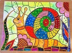 Kids Art Class, Art Lessons For Kids, Art For Kids, Kindergarten Art Lessons, Art Lessons Elementary, Art Drawings For Kids, Drawing For Kids, Snail Art, Kids Watercolor