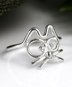 Items similar to Cutest Cat Ring Ever Cartoon Cat Ring, Sterling Silver Ring on Etsy Metal Clay Jewelry, Cat Jewelry, Beaded Jewelry, Jewelry Accessories, Unique Jewelry, Gothic Engagement Ring, Cat Ring, Handmade Rings, Sterling Silver Rings