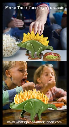 Nachosaurus Dip and Snack Set - What's Goin' On In The Kitchen? Cool Kitchen Gadgets, Cool Kitchens, Cooking Gadgets, Awesome Kitchen, Taco Tuesday, French Fries, Pretzels, Nachos, Popcorn
