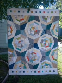 "Modern Spiderwebs. No tutorial on this one, but there are 2 ""spider web"" block tutorials to the left of this pin. Love her color choices!"