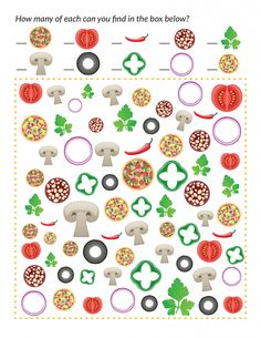 Pizza I Spy - Gift of Curiosity Fun Worksheets For Kids, Kids Learning Activities, Preschool Activities, Pizza Coloring Page, Pizza Craft, Pizza Games, Kids Pizza, I Spy Games, Kindergarten Art Projects
