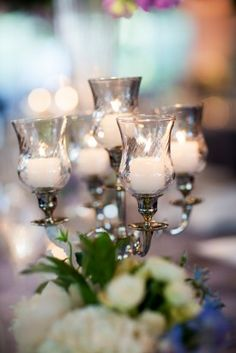 Candleabra Wedding Centerpieces 275x412 Tented Maryland Wedding Reception: Lauren + Adam