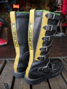 Mx Boots, Biker Boots, Cowboy Boots, Enduro Vintage, Vintage Motocross, Biker Gear, Tall Leather Boots, Motorcycle Accessories, Yamaha
