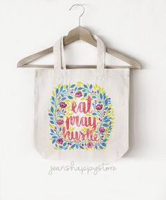 Items similar to Eat Pray Hustle - TOTE BAG; Accessory on Etsy Cotton Bag, Cotton Canvas, Watercolor Canvas, Christian Gifts, Shopping Mall, Canvas Tote Bags, Watercolors, Hustle, Collaboration