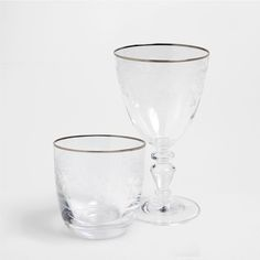 PATTERNED SILVER EDGED GLASSWARE