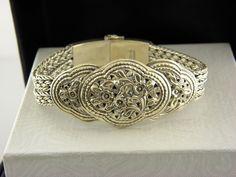 """Vintage Sterling Silver Ornate Bangle  Bracelet, 7"""" inch .#29 #Danecraft #Bangle"""