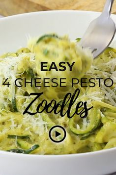 Easy 4 Cheese Pesto Zoodles by I Breathe I'm Hungry. Pin made by Overhead Pro.  Atkins friendly diet dinner, baked zucchini noodles, best zucchini noodle recipes, best zucchini recipes, cooking zucchini noodles, gluten free zucchini noodle recipes, how to cook zucchini noodles, keto zucchini spaghetti, spiralized zucchini pasta recipes, how to cook zoodles, easy low carb zucchini recipes, zucchini recipe healthy, zucchini spaghetti recipe, nut free egg free zucchini noodles with pesto.