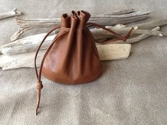 Leather Drawstring Pouch Bag Beautiful Milk by Shirlbcreationstoo, $42.00