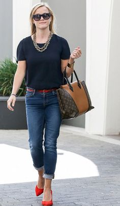 Reese Witherspoon. Red, black and denim.  would also be cute with leopard instead of red :)