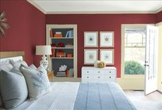 Look at the paint color combination I created with Benjamin Moore. Via @benjamin_moore. Wall: Dinner Party AF-300; Trim: Stratton Khaki DC-15; Bookcase Back Wall: Black Ink 2127-20; Ceiling: White Heron OC-57.