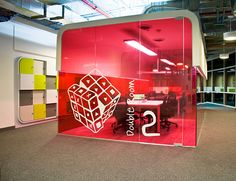 coloured window graphics to differentiate meeting rooms!