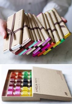 Amelia Rope Chocolate #packaging, kraft paper + vibrant metallics / photo: mary wadsworth