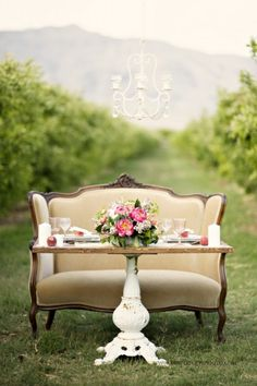 Peach + Lace Vintage Wedding Inspiration at Gilcrease Orchard is part of Orchard wedding - Vintage wedding style at Las Vegas's Gilcrease Orchard, inspired by peach and lace Photographs by Kristen Joy Photography Vintage Table Decorations, Table Vintage, Decoration Table, Vintage Tea, Wedding Decorations, Wedding Vintage, Vintage Settee, Furniture Vintage, Urban Furniture