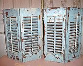 Distressed wood shutters grouping French cottage blue hand painted Shabby chic home decor  Anita Spero