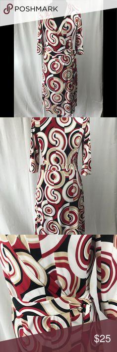 "Bisou Bisou women's wrap dress Women's Bisou Bisou brand , patterned , wrap dress, size 8, shoulder to hem line 44"", polyester, spandex, stretchy material, EUC , tan, white, black & red colors Bisou Bisou Dresses Midi"
