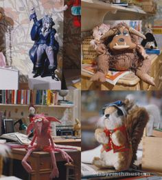 Jareth, Ludo, a Firey and Sir Didymus in Sarah's room (production photos). It's also easy to spot Hoggle, and there's a book about the Cleaners, and well, there're so many references to the Labyrinth in Sarah's room… I'm sure you've all played Where's Waldo? with the film.