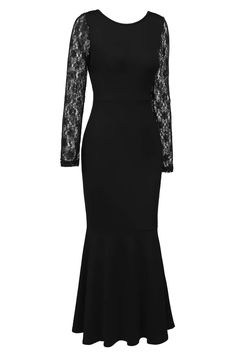 b4d9f1055 ANGVNS Womens Vintage Long Sleeve Lace Hollow Out Back Evening Gown  Fishtail Maxi Cocktail Dress     See this great product.-It is an affiliate  link to ...