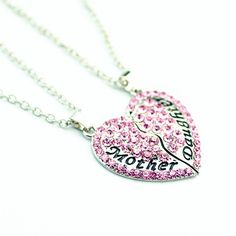 Lovely Mother & Daughter Necklace Set (Pink Rhinestone) this versatile, lovely piece is ideal for mother's day and beyond. the playful heart motif can be worn by mother and daughter. a perfect gift for a mom, which will easily combine with other InstJewerlry items.