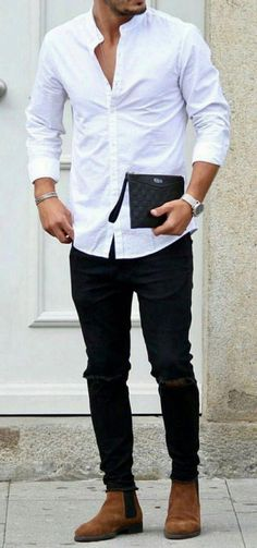 Jeans outfit men - Men's white open button down shirt with black jeans and brown boots mensfashion menswear menstyle bespoke menwithstreetstyle wedding dapper groomsmen groom style gentlemen streetstyle Black Shirt Outfits, Black Jeans Outfit, Mens Jeans Outfit, Brown Boots Outfit, Mens Dress Outfits, Mode Swag, Black Jeans Men, White Shirt Black Jeans, Jeans For Men
