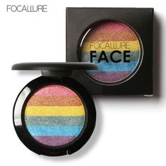 FOCALLURE DIY Rainbow Highlighter Face Brightener Bronzer Contour Kits Shimmer Glow Kit Powder Highlighter Rainbow Makeup