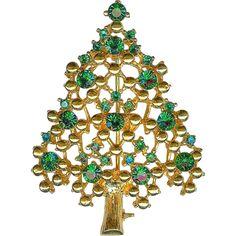 SCARCE Vtg EISENBERG ICE Emerald Green Crystal Gold Balls Xmas Christmas Tree Brooch Pin