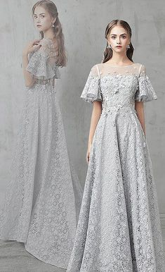 Gray tulle lace long prom dress, gray evening dresses by ainiprom, $152.52 USD