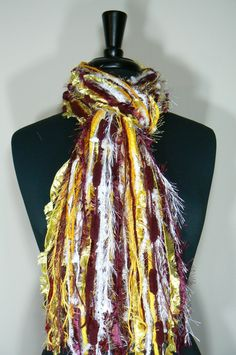 """Items similar to Washington """"The Team Who Shall Not Be Named"""" colors - NFL scarves College Scarf - Shades of Yellow, Burgundy and White on Etsy Redskins Gear, Redskins Baby, Redskins Football, Scarf Knots, Burgundy And Gold, School Sports, Fringe Scarf, Shades Of Yellow, Washington Redskins"""