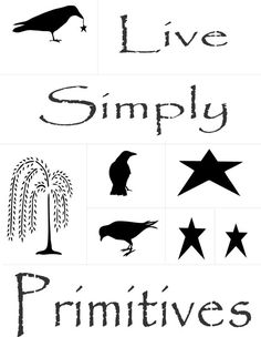 Primitives stencil pack for painting - live simply, crow, crow with star, stars, primitives, willow tree, perfect for all of your primitives painting needs!~