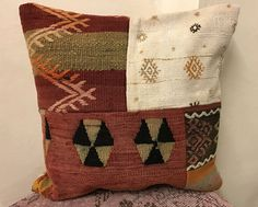 Turkish Bohemian Pillows. Boho Pillows. Decorative Pillows. Turkish Kilim Pillows 50 x 50 cm  Vintage Boho Pillows. Kilim Rug Pillow Covers by TurkishBohoChic on Etsy