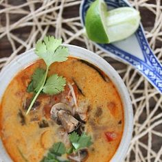 A traditional creamy chicken and coconut soup. Creamy Chicken, Chicken Soup, South African Recipes, Ethnic Recipes, Coconut Soup, Fish Sauce, Lemon Grass, Coriander, Cheeseburger Chowder
