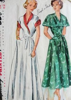 1940s  Glamorous Robe Hostess Gown Pattern Simplicity 2845 Beautiful Cape Collar Version Housecoat Bust 32 Vintage Sewing Pattern