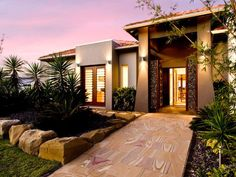 Concrete modern house exterior with french doors landscaped garden - House Facade photo 217472