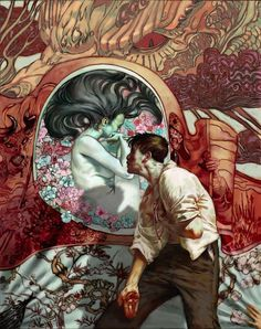 Artist: Jon Foster illustration by Jon Foster for the cover of Snake Agent by Liz Williams (not Pygmalion from Ovid's Metamorphoses) Art And Illustration, Fantasy Paintings, Fantasy Art, Fantasy Series, Arte Sci Fi, Art Graphique, Art Design, Caricatures, Love Art
