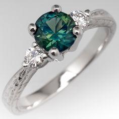 3313fa0140f8 No Heat Green Sapphire Three Stone Engagement Ring Engraved Platinum