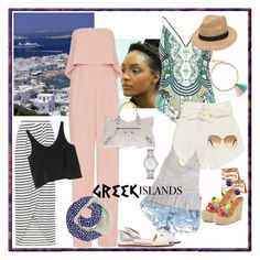 """""""Pack and Go: Greek Islands"""" by blarae12 on Polyvore featuring Marc by Marc Jacobs, Sole Society, River Island, Jay Godfrey, Gottex, IRO, Balenciaga, Alameda Turquesa, Victoria Beckham and New Look"""