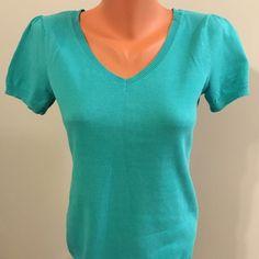 Ann Taylor loft v neck, short sleeve sweater Short sleeved, v-neck sweater, worn only a few times - pretty seafoam green color, 100% cotton. Size: S Ann Taylor Sweaters V-Necks