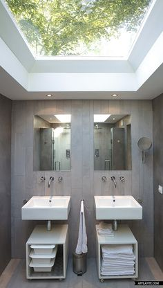 Modern Bathroom with an amazing Skylight - Church converted into a home. | Home Adore