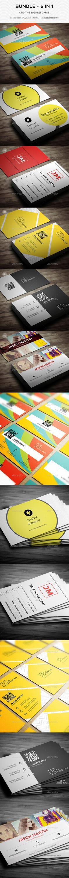 Bundle - 6 in 1 - Pro Creative Business Cards Templates PSD