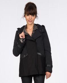 Short coat coats and jackets comptoir des cotonniers - Manteau bi matiere comptoir des cotonniers ...