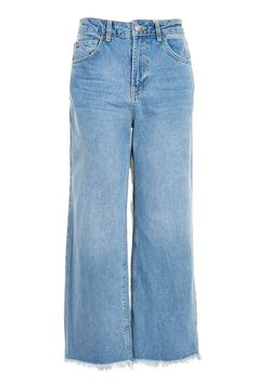 MOTO Mid Blue Cropped Wide Leg Jeans  $75.00