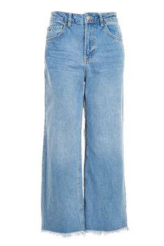 MOTO Mid Blue Cropped Wide Leg Jeans  $75.00
