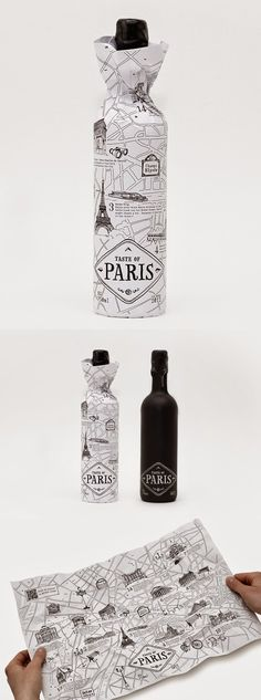 Creative idea to use a map as packaging to represent the wine where comes from.