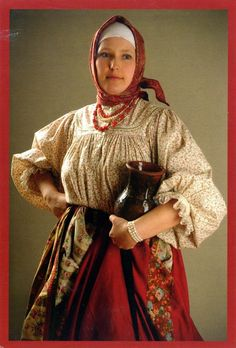 type of traditional Russian costume of peasant woman