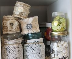 buttons & lace covered jars