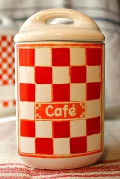 Vintage French CAFE Canister Red White Check