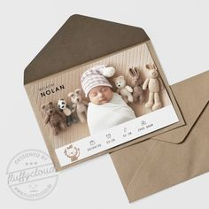 Geboortekaartje met leeuwtje en foto