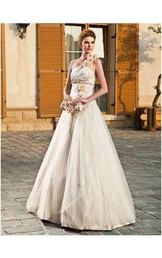 A-line One Shoulder Floor-length Tulle Wedding Dress
