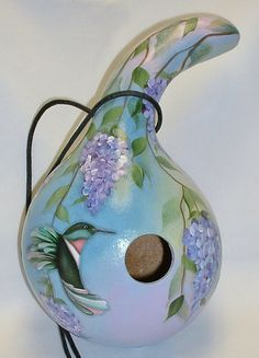 Hummingbird with Wisteria Flowers Gourd Birdhouse - Hand Painted Gourd