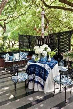 Dress some of my Wrought Iron Tables with Table Cloths and Coverings...Good way to introduce more of my Batiks to the Mix...LAYER!!